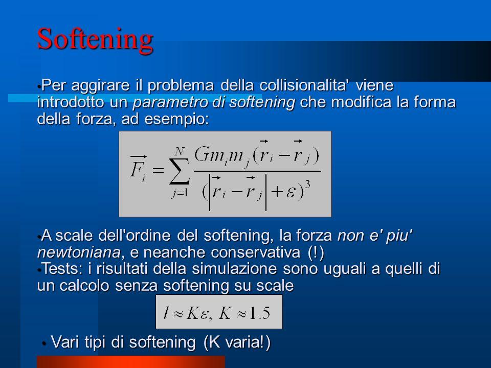 Softening Per aggirare il problema della collisionalita' viene introdotto un parametro di softening che modifica la forma della forza, ad esempio: Per