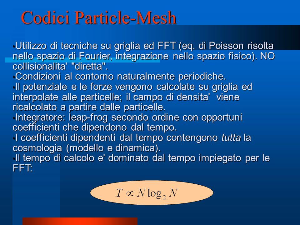 Codici Particle-Mesh Utilizzo di tecniche su griglia ed FFT (eq. di Poisson risolta nello spazio di Fourier, integrazione nello spazio fisico). NO col