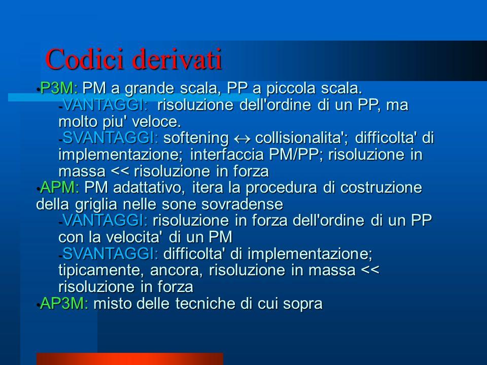 Codici derivati P3M: PM a grande scala, PP a piccola scala. P3M: PM a grande scala, PP a piccola scala. - VANTAGGI: risoluzione dell'ordine di un PP,