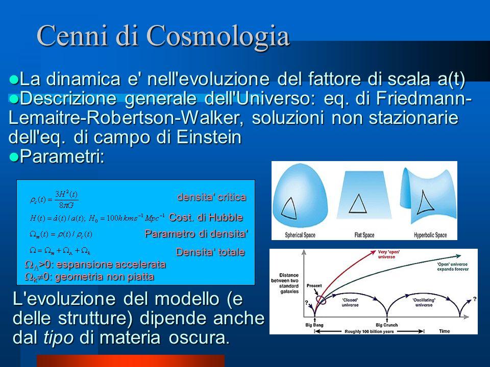 Cenni di Cosmologia La dinamica e' nell'evoluzione del fattore di scala a(t) La dinamica e' nell'evoluzione del fattore di scala a(t) Descrizione gene