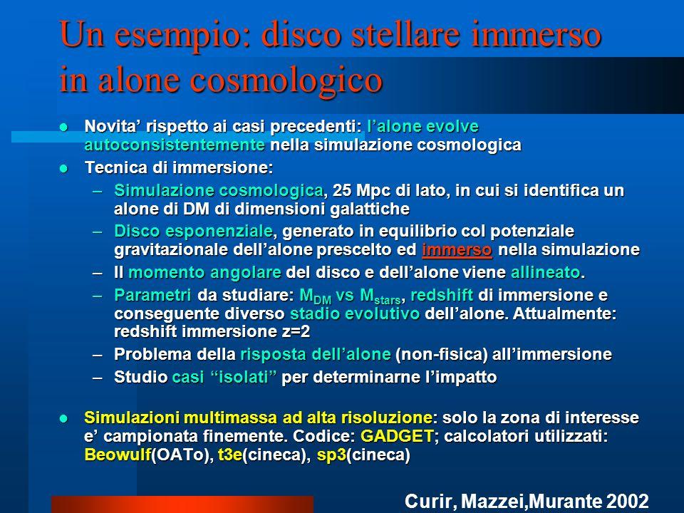 Un esempio: disco stellare immerso in alone cosmologico Novita rispetto ai casi precedenti: lalone evolve autoconsistentemente nella simulazione cosmo