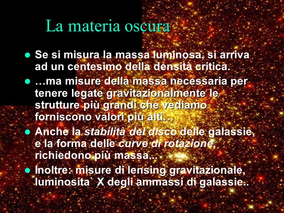 La materia oscura Se si misura la massa luminosa, si arriva ad un centesimo della densità critica. …ma misure della massa necessaria per tenere legate