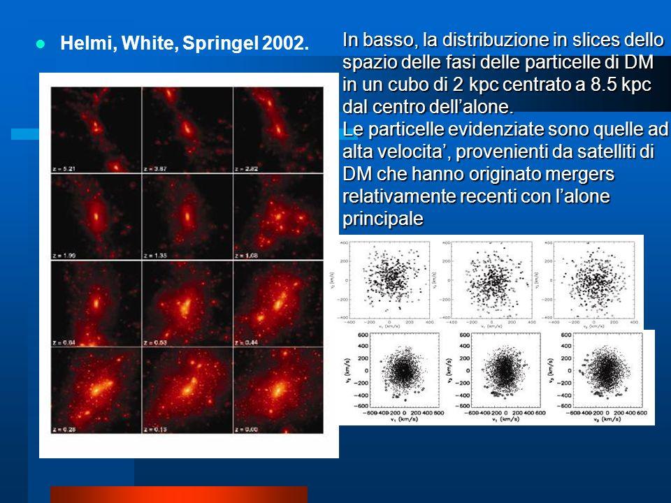 Helmi, White, Springel 2002. In basso, la distribuzione in slices dello spazio delle fasi delle particelle di DM in un cubo di 2 kpc centrato a 8.5 kp