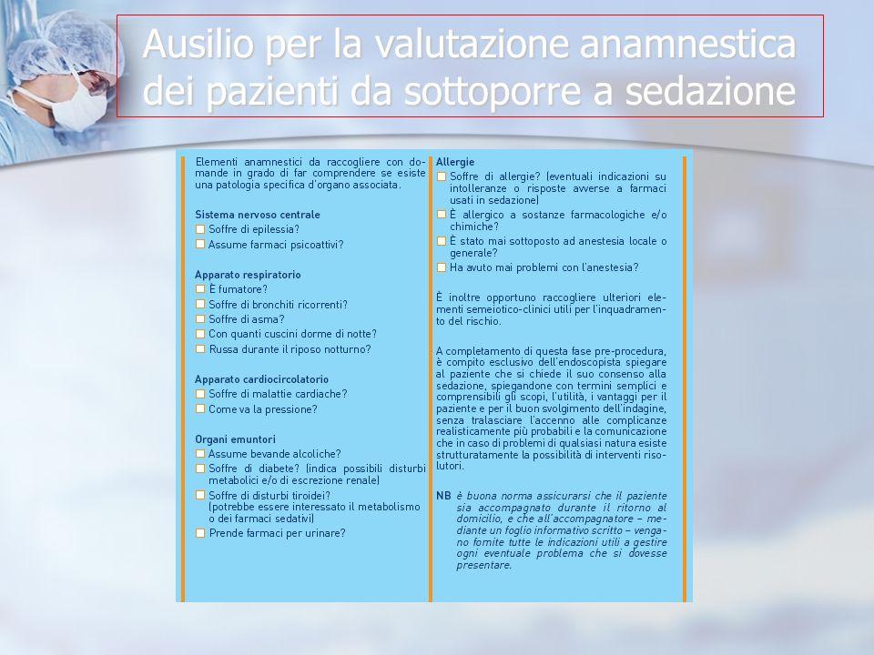 Ausilio per la valutazione anamnestica dei pazienti da sottoporre a sedazione