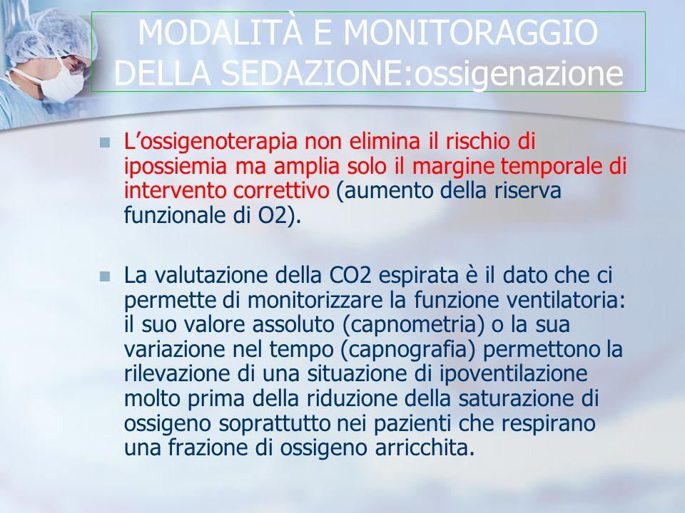 MODALITÀ E MONITORAGGIO DELLA SEDAZIONE:ossigenazione Lossigenoterapia non elimina il rischio di ipossiemia ma amplia solo il margine temporale di intervento correttivo (aumento della riserva funzionale di O2).