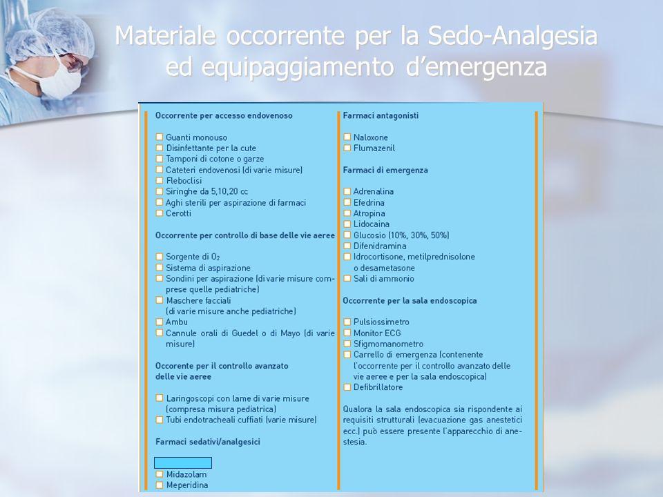 Materiale occorrente per la Sedo-Analgesia ed equipaggiamento demergenza