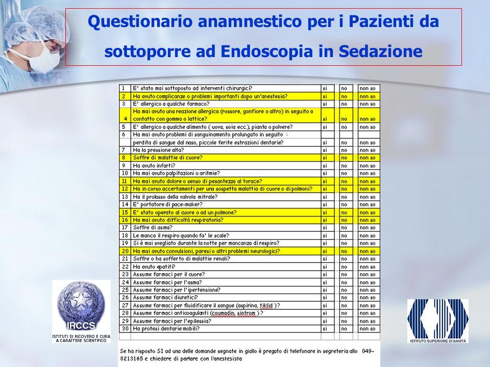 Questionario anamnestico per i Pazienti da sottoporre ad Endoscopia in Sedazione
