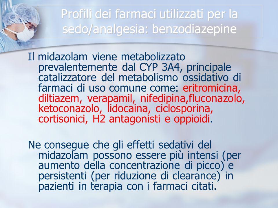 Profili dei farmaci utilizzati per la sedo/analgesia: benzodiazepine Il midazolam viene metabolizzato prevalentemente dal CYP 3A4, principale catalizzatore del metabolismo ossidativo di farmaci di uso comune come: eritromicina, diltiazem, verapamil, nifedipina,fluconazolo, ketoconazolo, lidocaina, ciclosporina, cortisonici, H2 antagonisti e oppioidi.