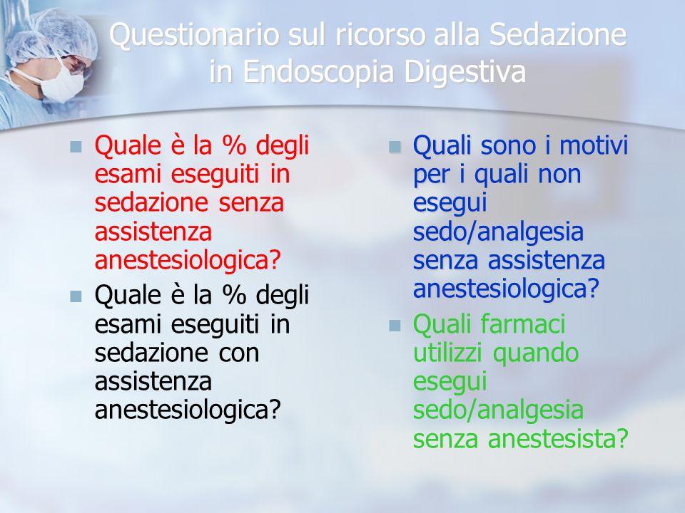 Questionario sul ricorso alla Sedazione in Endoscopia Digestiva Esami (%)eseguiti in sedazione con assistenza anestesiologica.