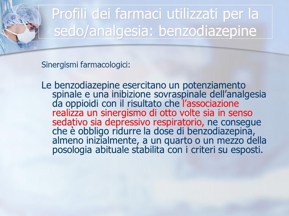 Profili dei farmaci utilizzati per la sedo/analgesia: benzodiazepine Sinergismi farmacologici: Le benzodiazepine esercitano un potenziamento spinale e una inibizione sovraspinale dellanalgesia da oppioidi con il risultato che lassociazione realizza un sinergismo di otto volte sia in senso sedativo sia depressivo respiratorio, ne consegue che è obbligo ridurre la dose di benzodiazepina, almeno inizialmente, a un quarto o un mezzo della posologia abituale stabilita con i criteri su esposti.