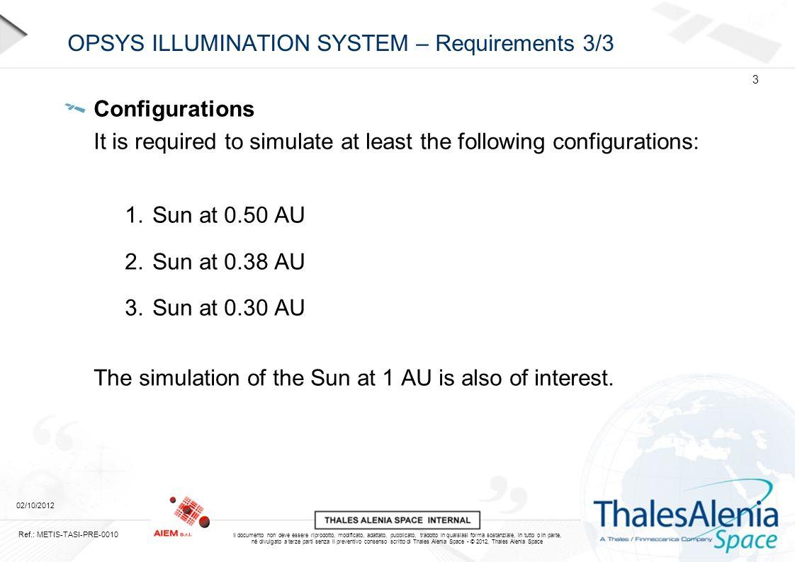 Il documento non deve essere riprodotto, modificato, adattato, pubblicato, tradotto in qualsiasi forma sostanziale, in tutto o in parte, né divulgato a terze parti senza il preventivo consenso scritto di Thales Alenia Space - © 2012, Thales Alenia Space OPSYS ILLUMINATION SYSTEM – Performances 02/10/2012 14 Ref.: METIS-TASI-PRE-0010 Light Shaping Diffuser FWHM = 1.5 deg Available on stock and on request for different diffusion angles (POC, Luminit)