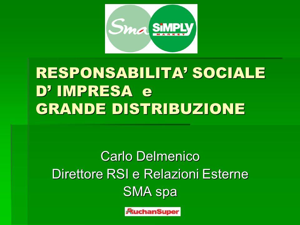 RESPONSABILITA SOCIALE D IMPRESA e GRANDE DISTRIBUZIONE Carlo Delmenico Direttore RSI e Relazioni Esterne SMA spa