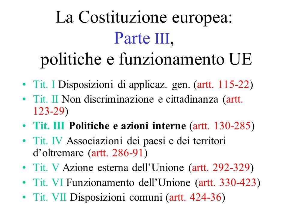 La Costituzione europea: Parte III, politiche e funzionamento UE Tit.