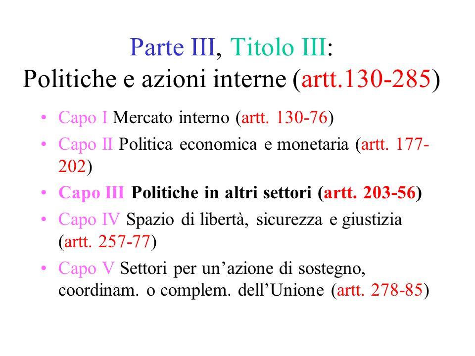Parte III, Titolo III: Politiche e azioni interne (artt.130-285) Capo I Mercato interno (artt.