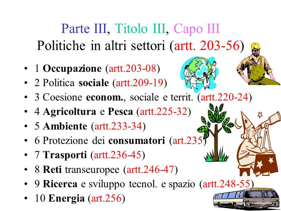 Parte III, Titolo III, Capo III Politiche in altri settori (artt.