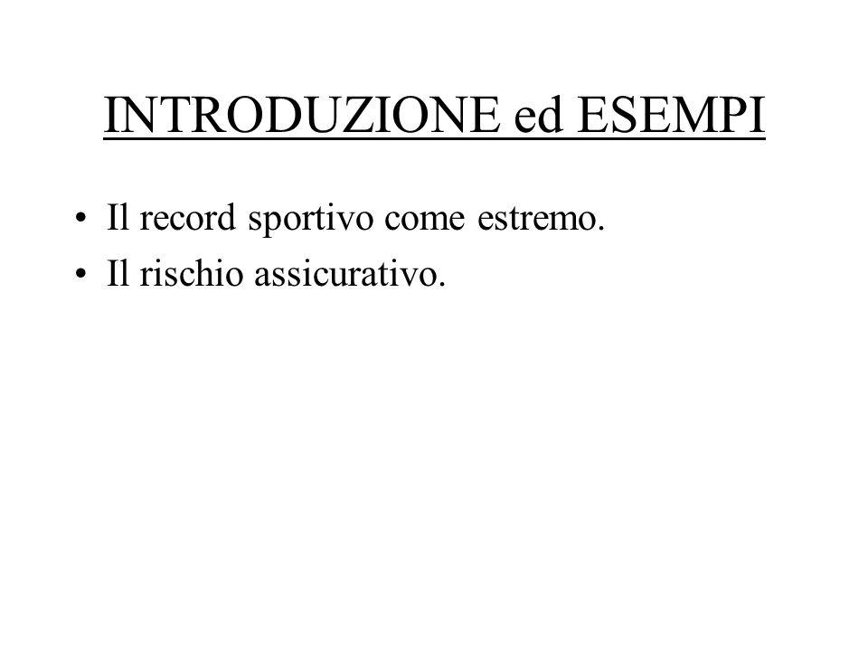 INTRODUZIONE ed ESEMPI Il record sportivo come estremo. Il rischio assicurativo.