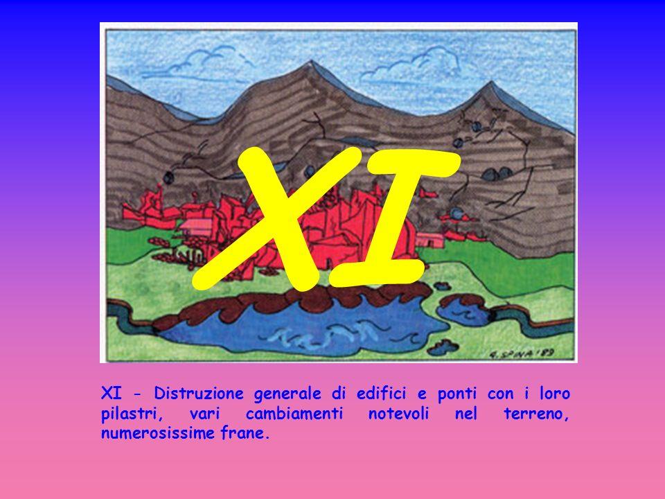 XI - Distruzione generale di edifici e ponti con i loro pilastri, vari cambiamenti notevoli nel terreno, numerosissime frane.