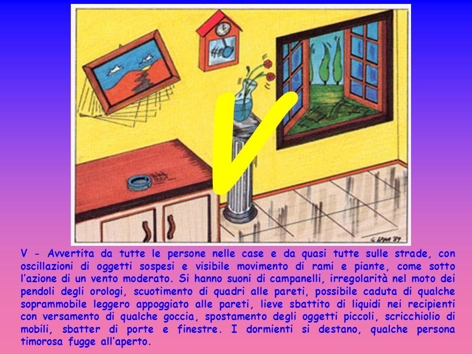 V - Avvertita da tutte le persone nelle case e da quasi tutte sulle strade, con oscillazioni di oggetti sospesi e visibile movimento di rami e piante, come sotto lazione di un vento moderato.