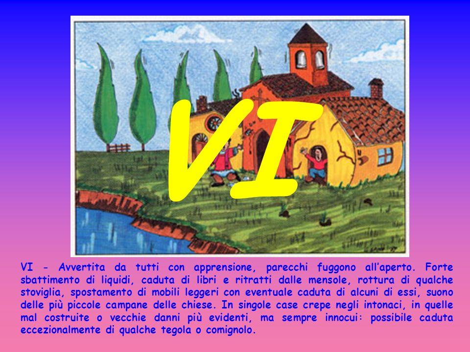 VII - Considerevoli danni per urto o caduta delle suppellettili, anche pesanti, delle case, suono di grosse campane nelle chiese.