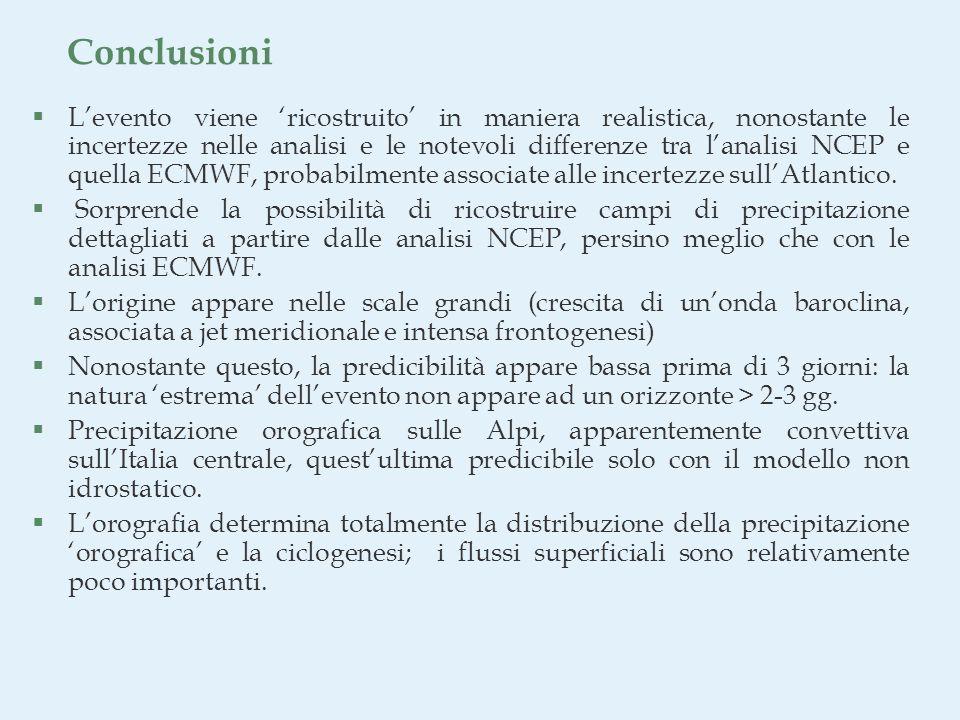 Conclusioni §Levento viene ricostruito in maniera realistica, nonostante le incertezze nelle analisi e le notevoli differenze tra lanalisi NCEP e quella ECMWF, probabilmente associate alle incertezze sullAtlantico.
