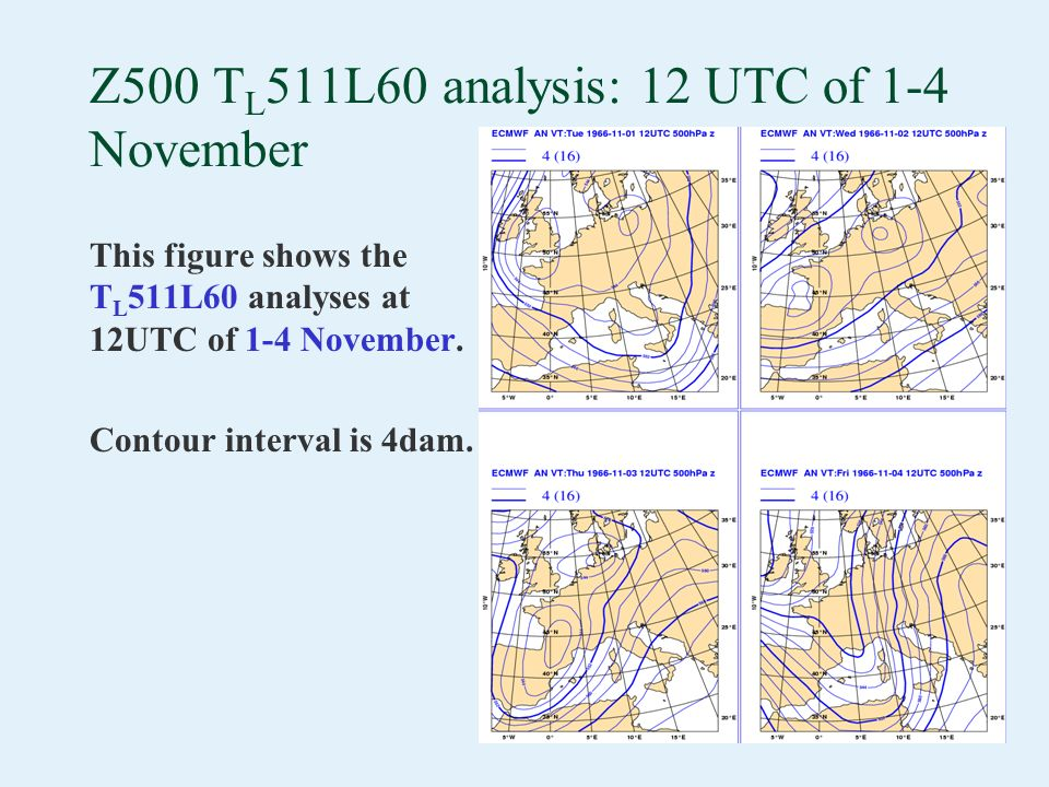 Z500 T L 511L60 analysis: 12 UTC of 1-4 November This figure shows the T L 511L60 analyses at 12UTC of 1-4 November. Contour interval is 4dam.