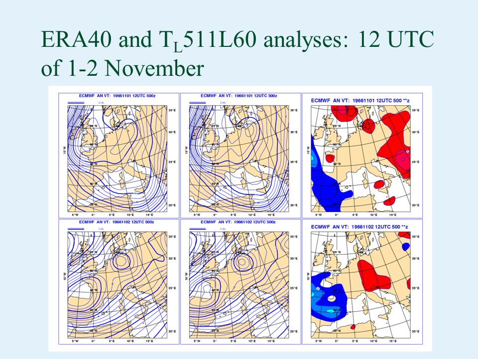 ERA40 and T L 511L60 analyses: 12 UTC of 1-2 November The ERA-40 (T L 159L60, left) and the T L 511L60 (right) analyses at 12UTC of 1 and 2 November are very similar (ci is 2dam for full fields and 1dam for difference).