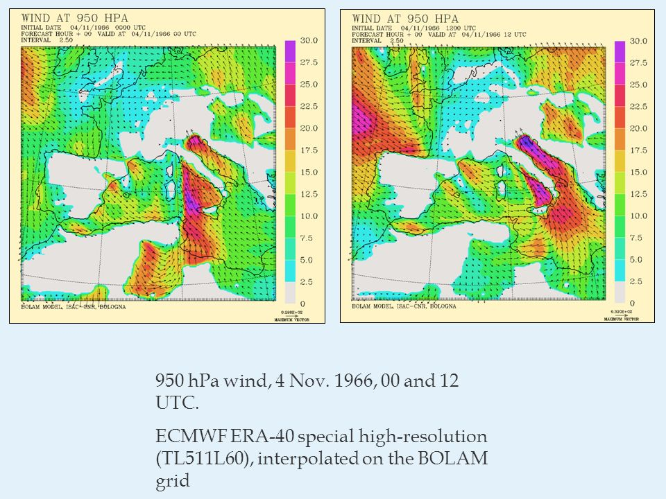 950 hPa wind, 4 Nov. 1966, 00 and 12 UTC.