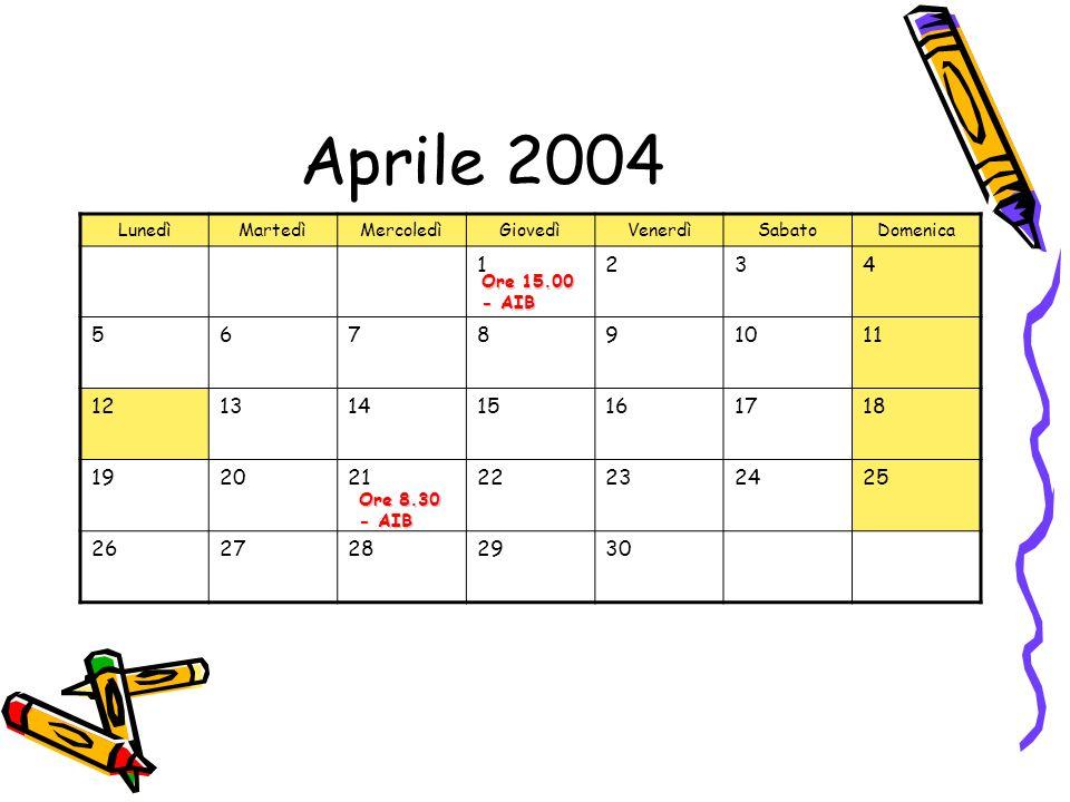 Aprile 2004 LunedìMartedìMercoledìGiovedìVenerdìSabatoDomenica 1234 567891011 12131415161718 19202122232425 2627282930 Ore 15.00 - AIB Ore 8.30 - AIB