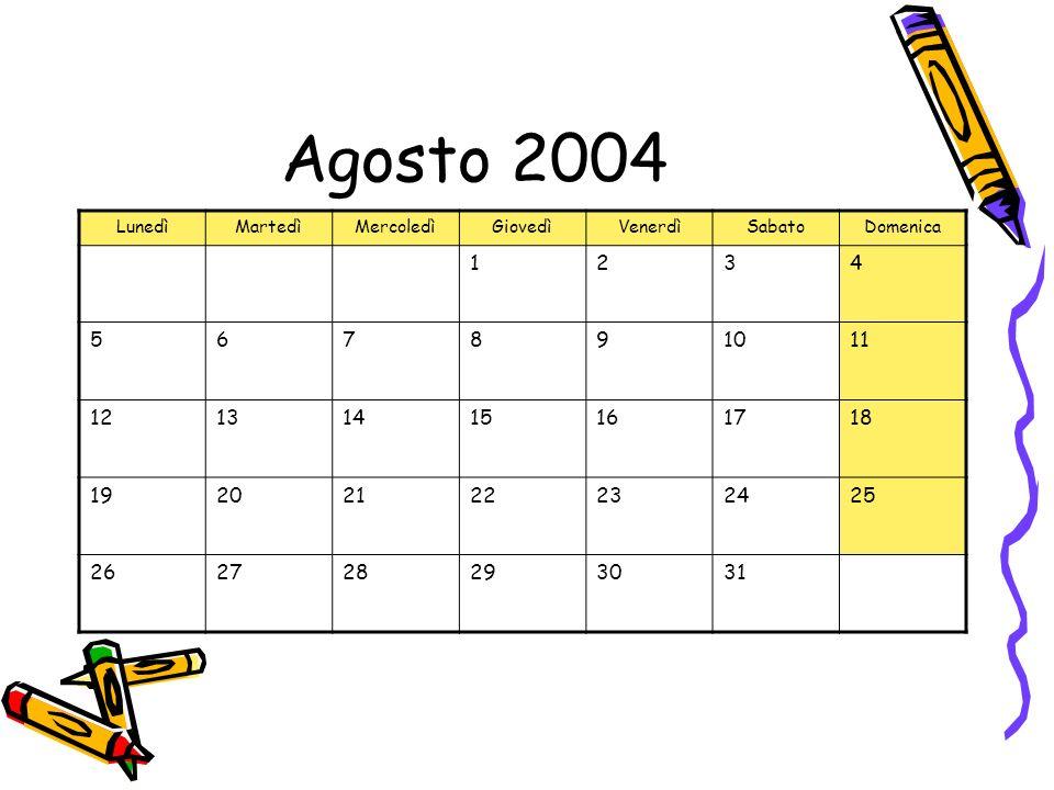 Agosto 2004 LunedìMartedìMercoledìGiovedìVenerdìSabatoDomenica 1234 567891011 12131415161718 19202122232425 262728293031