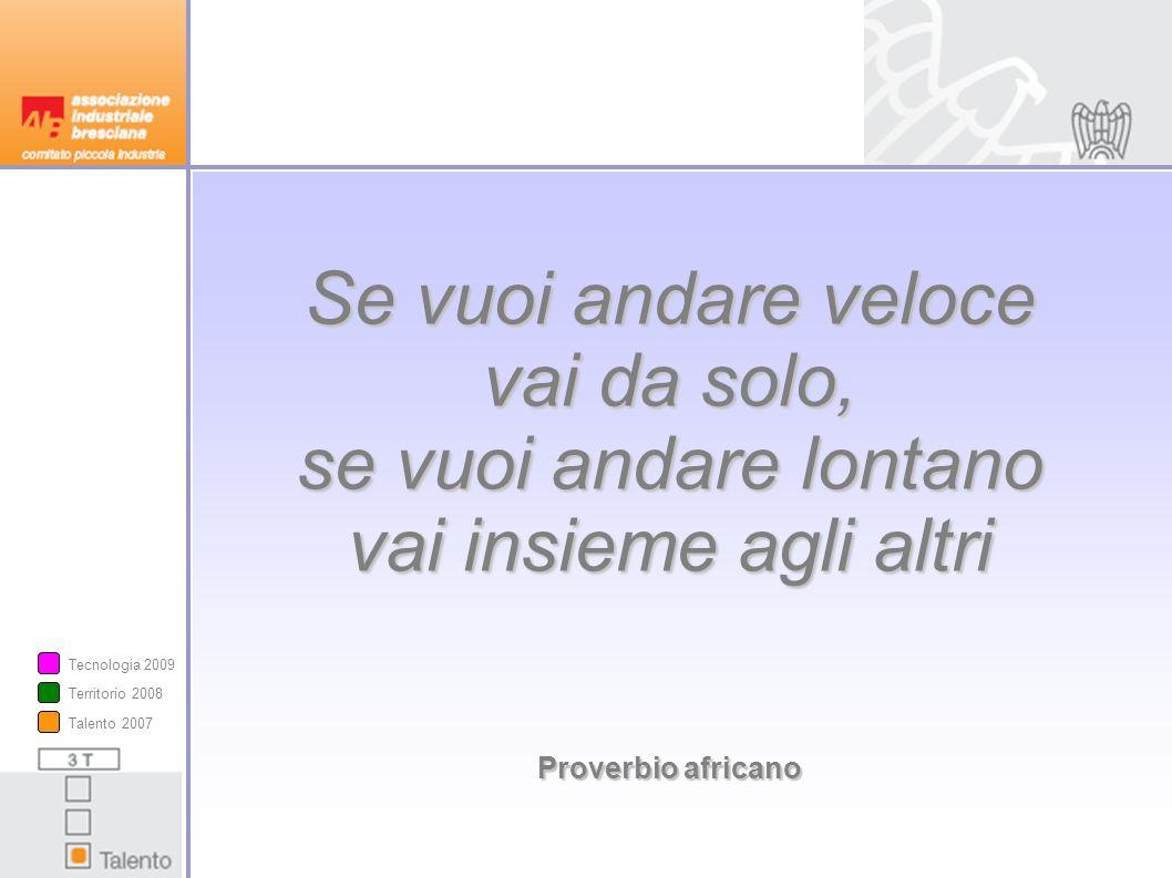 Se vuoi andare veloce vai da solo, se vuoi andare lontano vai insieme agli altri Proverbio africano Proverbio africano Talento 2007 Territorio 2008 Tecnologia 2009