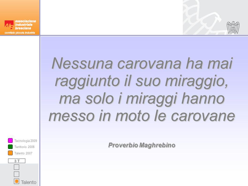 Nessuna carovana ha mai raggiunto il suo miraggio, ma solo i miraggi hanno messo in moto le carovane Proverbio Maghrebino Talento 2007 Territorio 2008 Tecnologia 2009