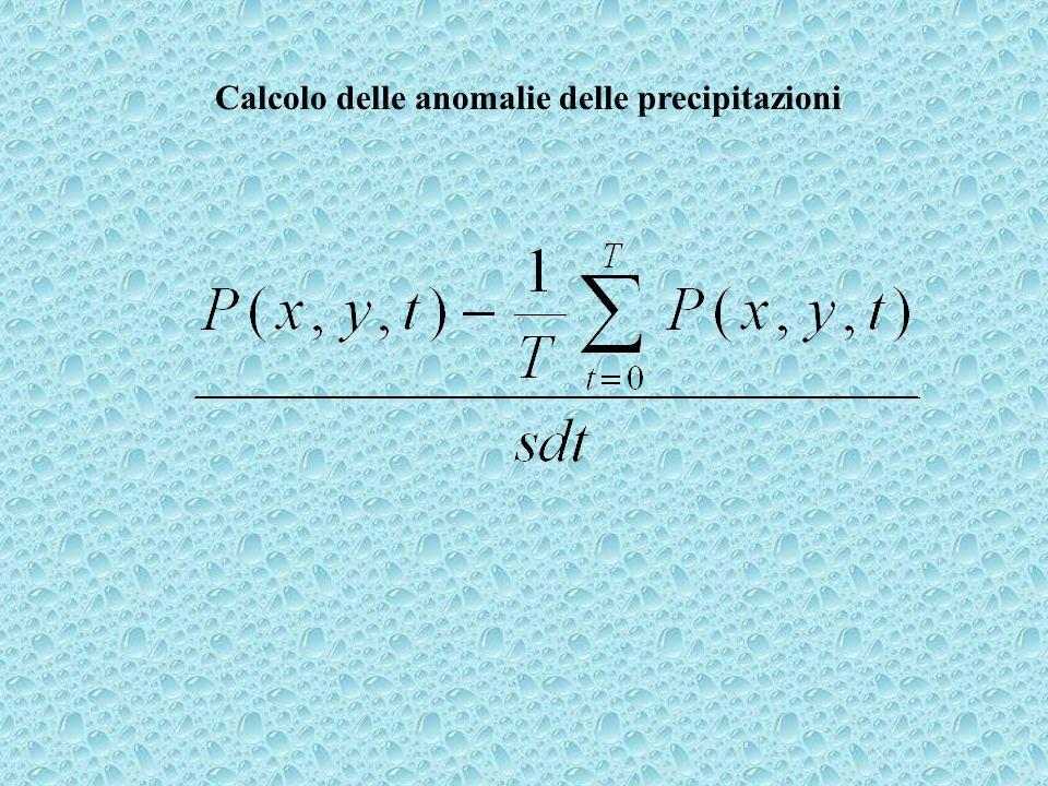 Calcolo delle anomalie delle precipitazioni