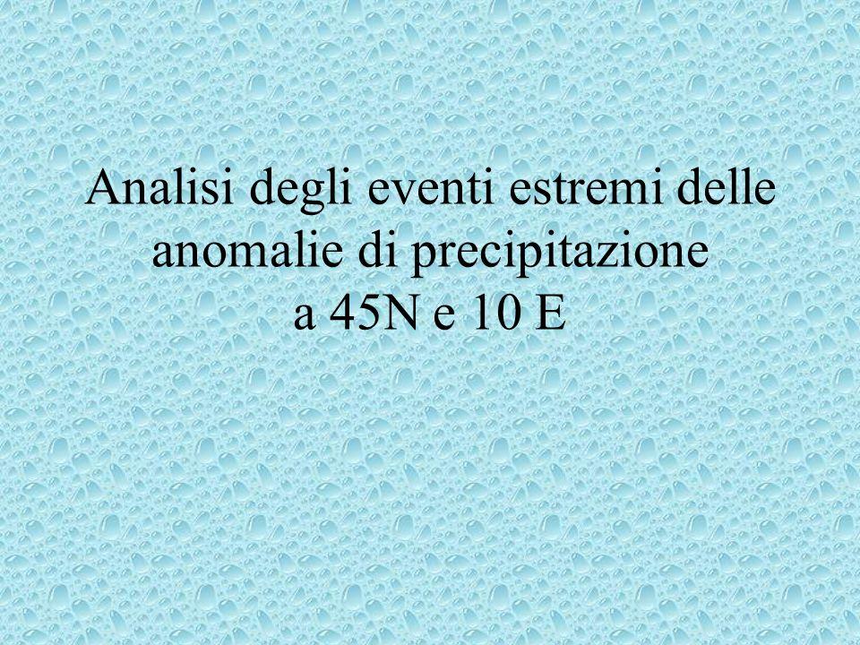 Analisi degli eventi estremi delle anomalie di precipitazione a 45N e 10 E