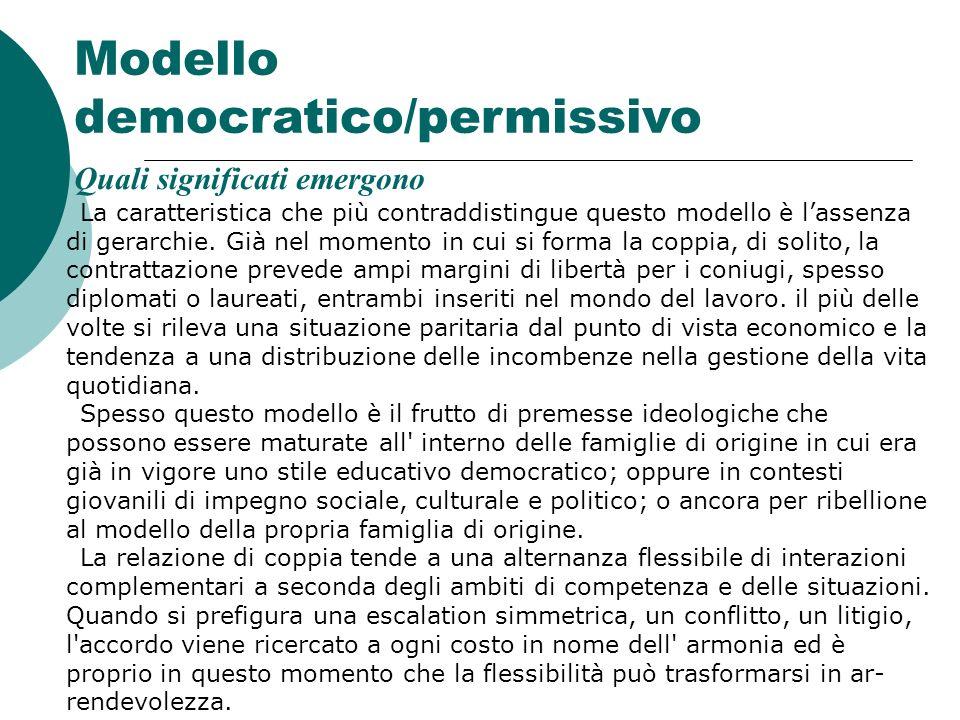 Modello democratico/permissivo Quali significati emergono La caratteristica che più contraddistingue questo modello è lassenza di gerarchie. Già nel m