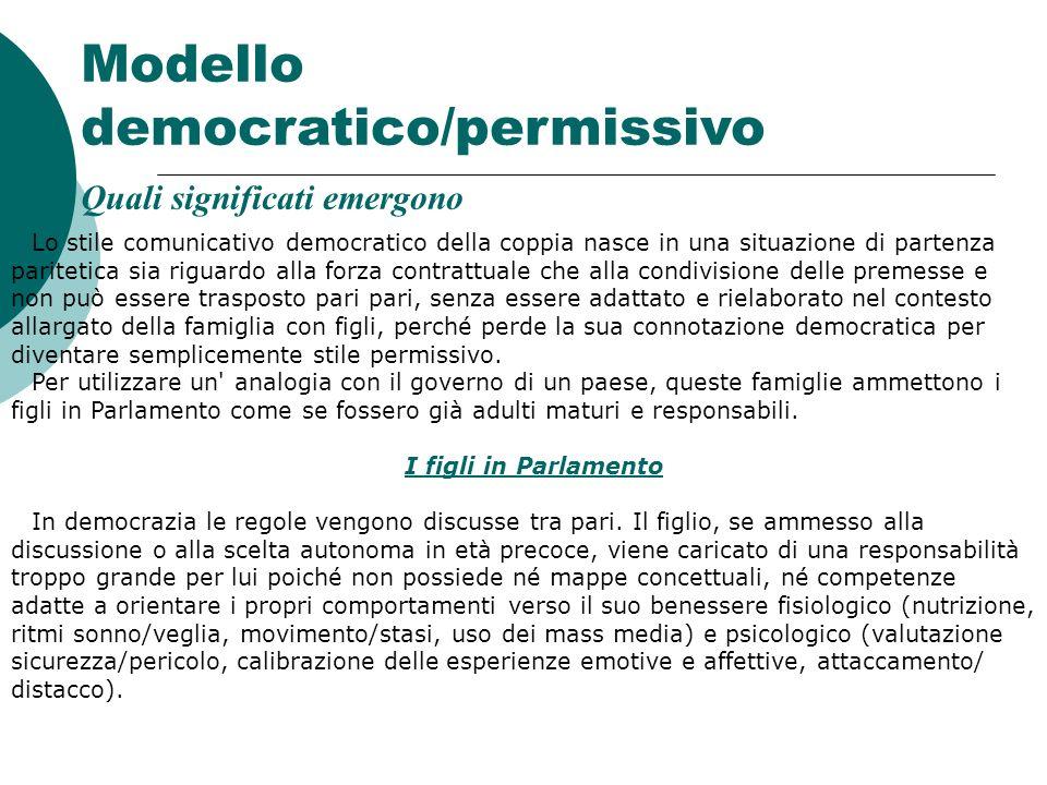 Modello democratico/permissivo Quali significati emergono Lo stile comunicativo democratico della coppia nasce in una situazione di partenza paritetic
