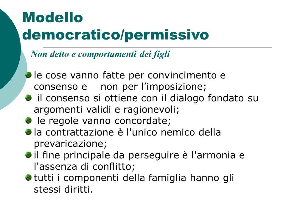 Modello democratico/permissivo le cose vanno fatte per convincimento e consenso e non per limposizione; il consenso si ottiene con il dialogo fondato