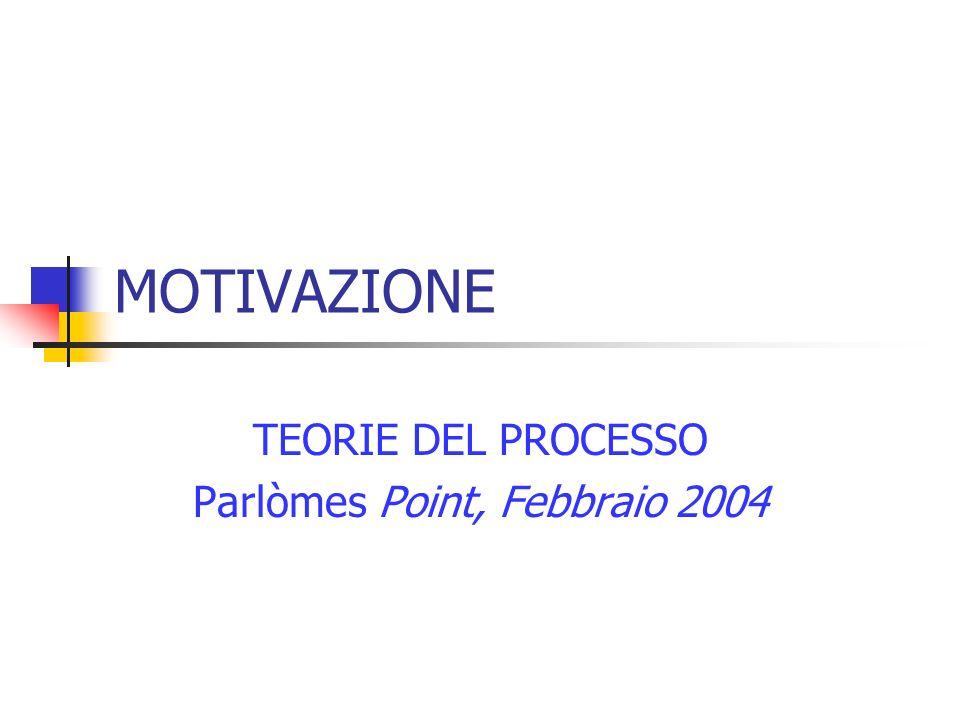 MOTIVAZIONE TEORIE DEL PROCESSO Parlòmes Point, Febbraio 2004