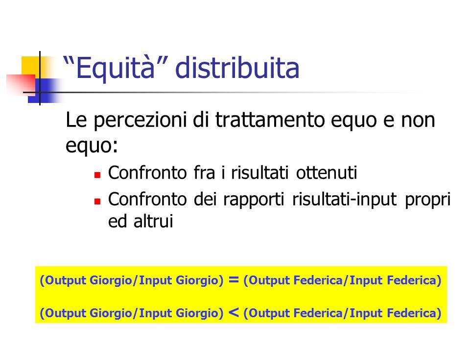Equità distribuita Le percezioni di trattamento equo e non equo: Confronto fra i risultati ottenuti Confronto dei rapporti risultati-input propri ed a