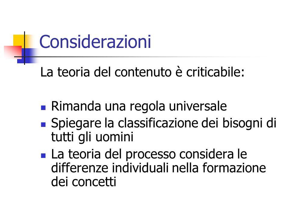 Considerazioni La teoria del contenuto è criticabile: Rimanda una regola universale Spiegare la classificazione dei bisogni di tutti gli uomini La teo