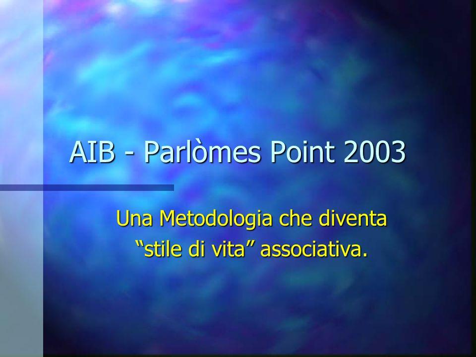 AIB - Parlòmes Point 2003 Una Metodologia che diventa stile di vita associativa.
