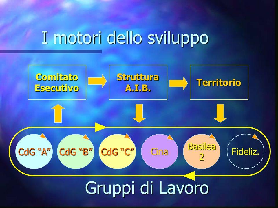 I motori dello sviluppo ComitatoEsecutivoStrutturaA.I.B.Territorio CdG A Basilea2Cina CdG C CdG B Gruppi di Lavoro Fideliz.