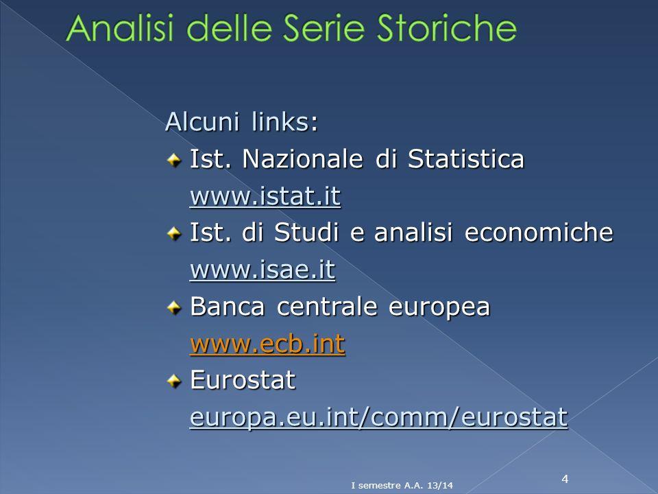 4 Alcuni links: Ist. Nazionale di Statistica www.istat.it Ist. di Studi e analisi economiche www.isae.it Banca centrale europea www.ecb.int Eurostateu