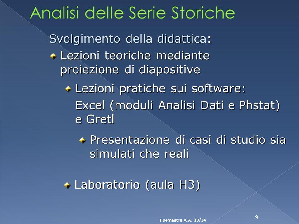 9 Svolgimento della didattica: Lezioni teoriche mediante proiezione di diapositive Lezioni pratiche sui software: Excel (moduli Analisi Dati e Phstat)