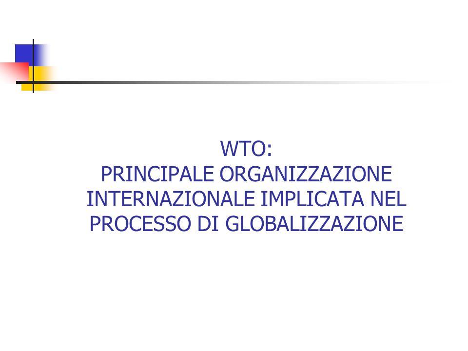 WTO: PRINCIPALE ORGANIZZAZIONE INTERNAZIONALE IMPLICATA NEL PROCESSO DI GLOBALIZZAZIONE
