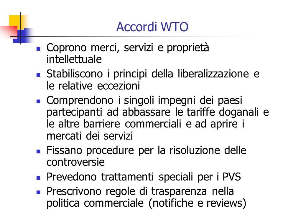 Accordi WTO Coprono merci, servizi e proprietà intellettuale Stabiliscono i principi della liberalizzazione e le relative eccezioni Comprendono i singoli impegni dei paesi partecipanti ad abbassare le tariffe doganali e le altre barriere commerciali e ad aprire i mercati dei servizi Fissano procedure per la risoluzione delle controversie Prevedono trattamenti speciali per i PVS Prescrivono regole di trasparenza nella politica commerciale (notifiche e reviews)