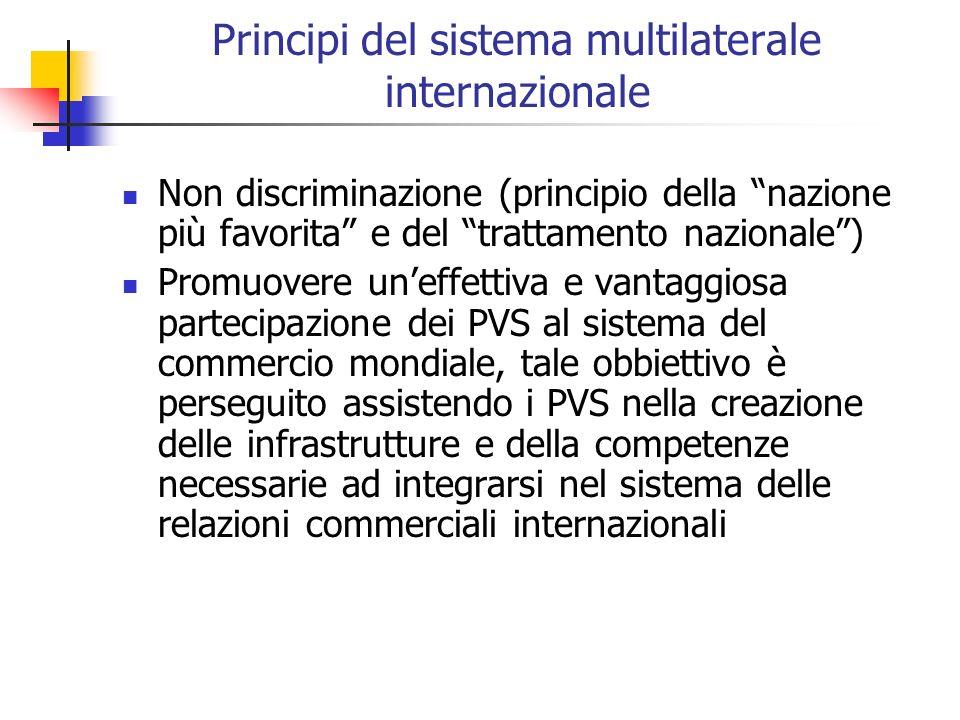 Principi del sistema multilaterale internazionale Non discriminazione (principio della nazione più favorita e del trattamento nazionale) Promuovere un