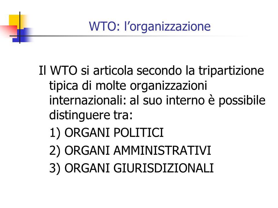 WTO: lorganizzazione Il WTO si articola secondo la tripartizione tipica di molte organizzazioni internazionali: al suo interno è possibile distinguere tra: 1) ORGANI POLITICI 2) ORGANI AMMINISTRATIVI 3) ORGANI GIURISDIZIONALI