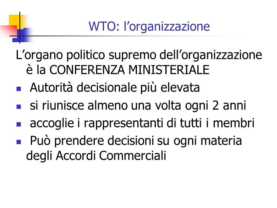 WTO: lorganizzazione Lorgano politico supremo dellorganizzazione è la CONFERENZA MINISTERIALE Autorità decisionale più elevata si riunisce almeno una volta ogni 2 anni accoglie i rappresentanti di tutti i membri Può prendere decisioni su ogni materia degli Accordi Commerciali