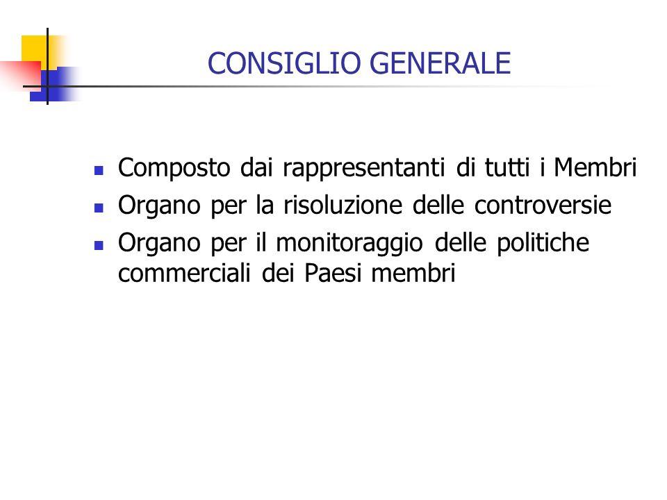 CONSIGLIO GENERALE Composto dai rappresentanti di tutti i Membri Organo per la risoluzione delle controversie Organo per il monitoraggio delle politiche commerciali dei Paesi membri