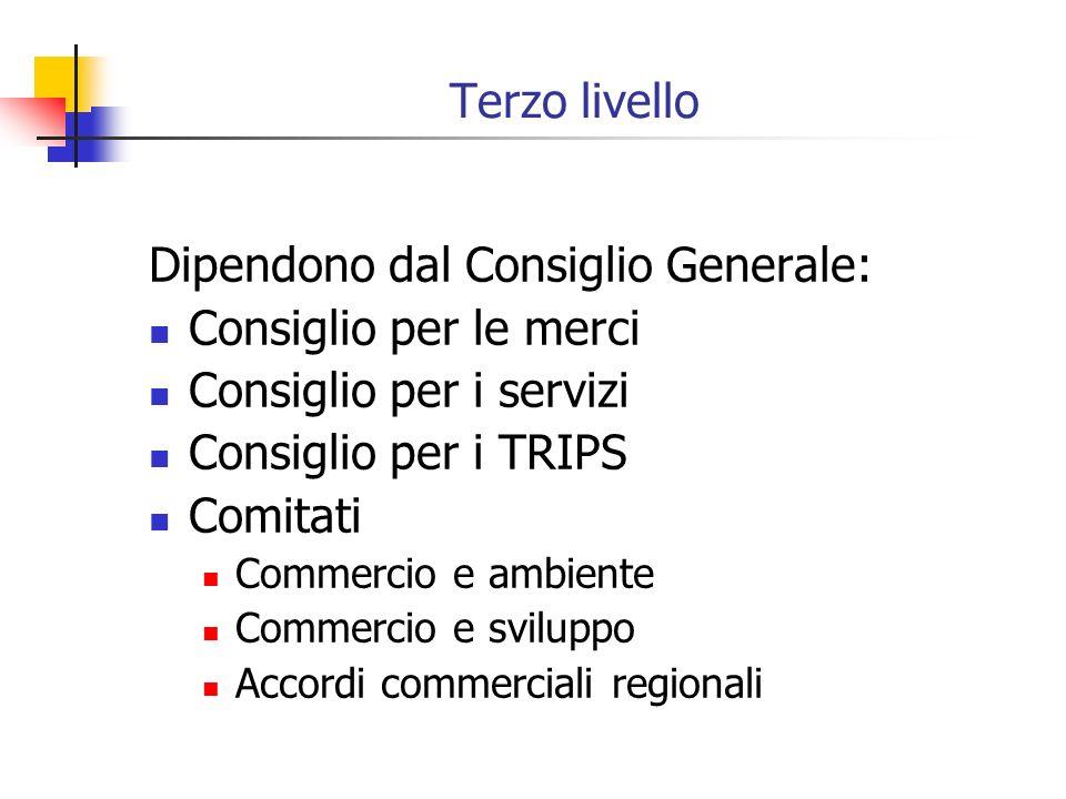 Terzo livello Dipendono dal Consiglio Generale: Consiglio per le merci Consiglio per i servizi Consiglio per i TRIPS Comitati Commercio e ambiente Com